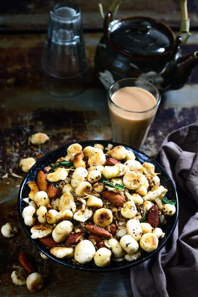 Makhana Namkeen is a healthy Indian snack made using lotus seeds.