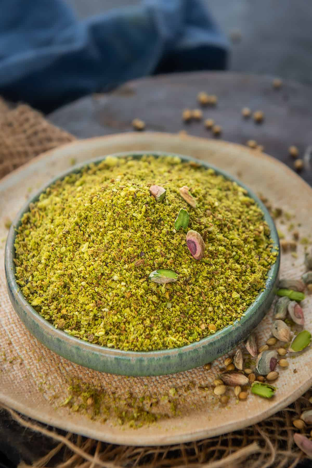 Dukkah served in a bowl.