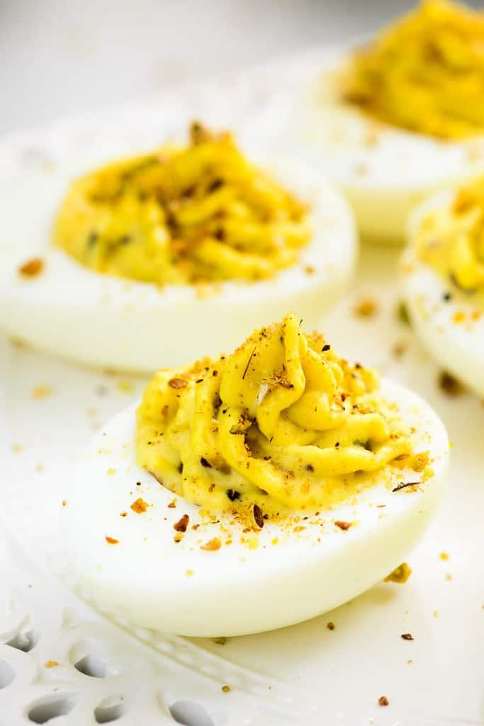 Dukkah Deviled Eggs is a delicious appetizer made with the Egyptian spice and nut blend Dukkah, filled into creamy deviled eggs.