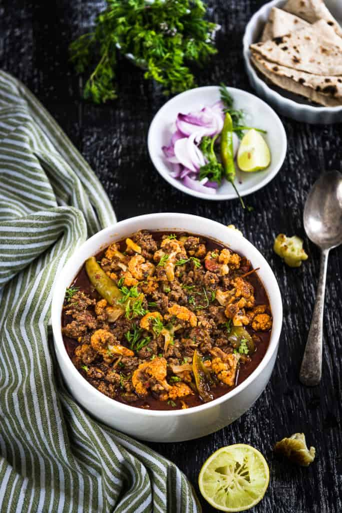 Gobi Keema or cauliflower Keema is a non vegetarian dish that can be prepared for any time of the da. It is prepared using cauliflower and mutton mince.