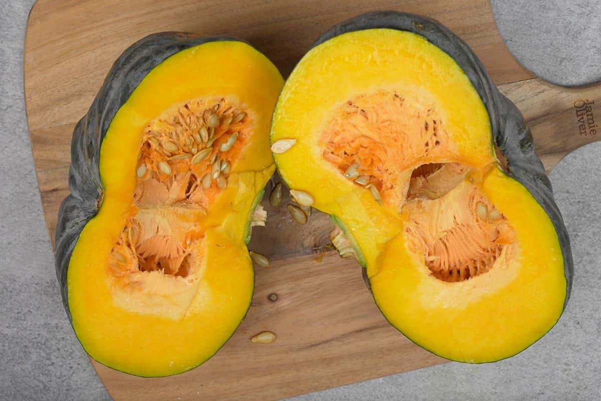 Halved pumpkin.