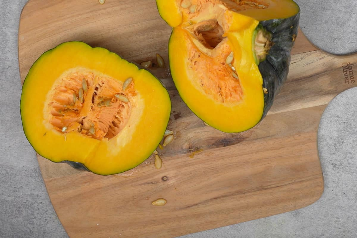 Quartered pumpkin.