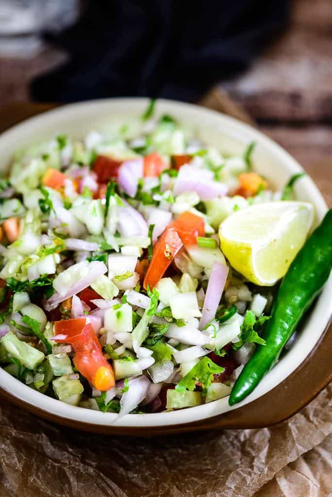Kachumbar Saladis a fresh, crunchy salad that doesn't need any cooking and can be rustled up whenever hunger strikes. Here is a simple recipe.