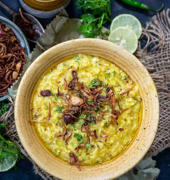 Moong Dal Khichdi served in a bowl.