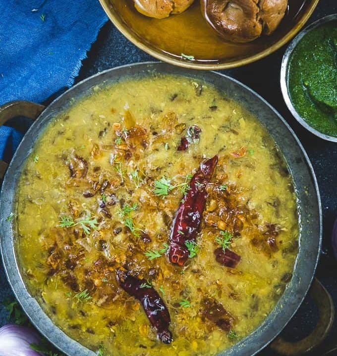 Panchmel Dal served in a bowl.