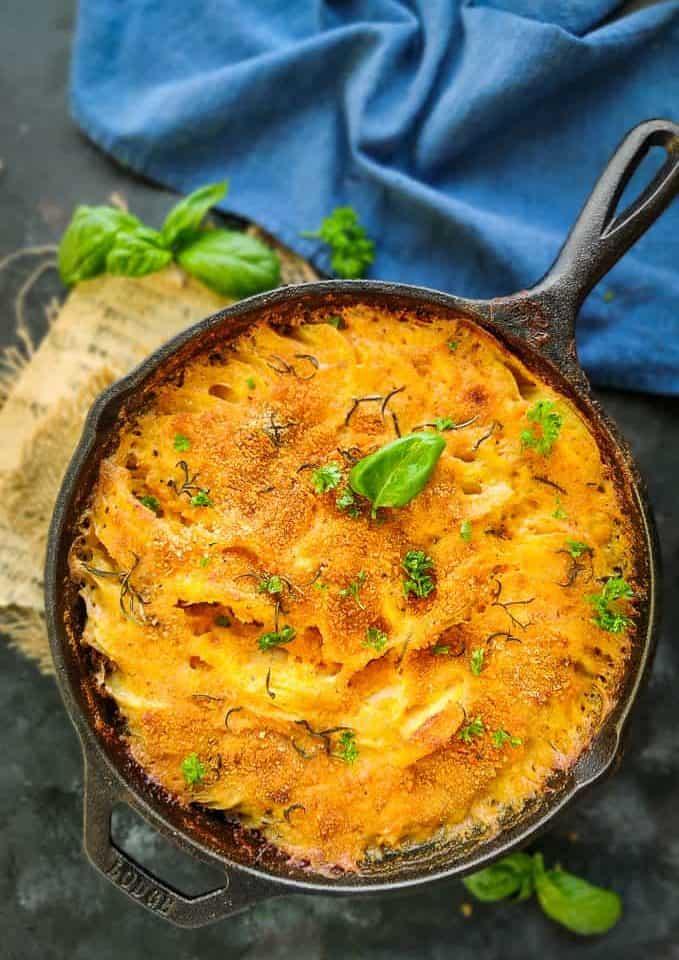 Potato Au Gratin in a pan.