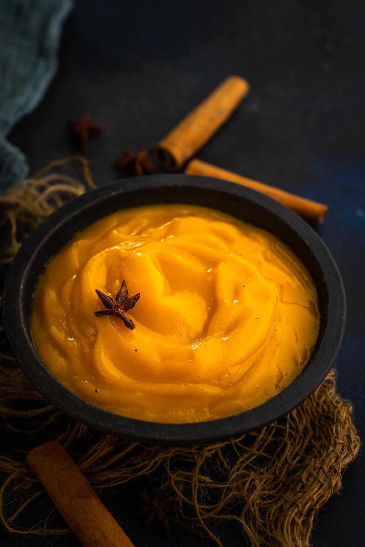 Pumpkin Puree served in a bowl.