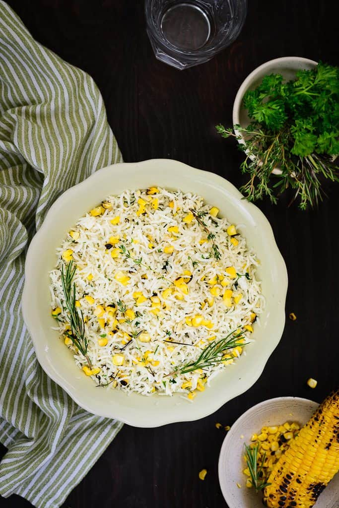 Roasted Corn and Herb Rice is a delicately flavored rice dish, that is mild and sweet. Highly nutritious, this rice is great to cook for family.