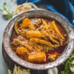 Shalgam Gosht or Mutton Lamb Curry with Turnip is a deliciously spicy meat dish that is slow cooked to imbibe the flavor of spices. This dish originated from Kashmir, where turnips are one of the few vegetables around and an oft-used ingredient in daily cooking.