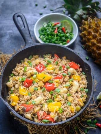 Thai Pineapple Fried Rice served in a bowl.