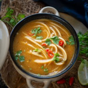 Thai Pumpkin Noodle Soup is a heartwarming, delicious soup perfect for cold climates and especially winters. Made using simple ingredients and a mix of sauces, it is nutritious, filling, and a great option when hunger strikes.