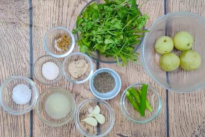 Amla chutney ingredients