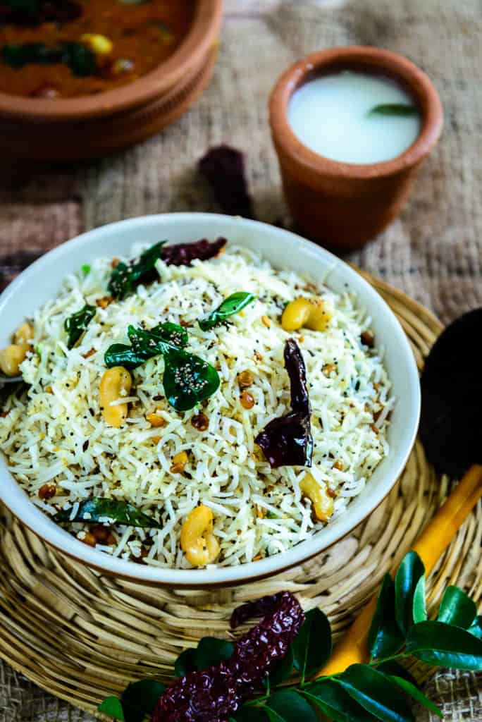 South indian coconut rice recipe step by step video recipe coconut rice served in a bowl forumfinder Choice Image