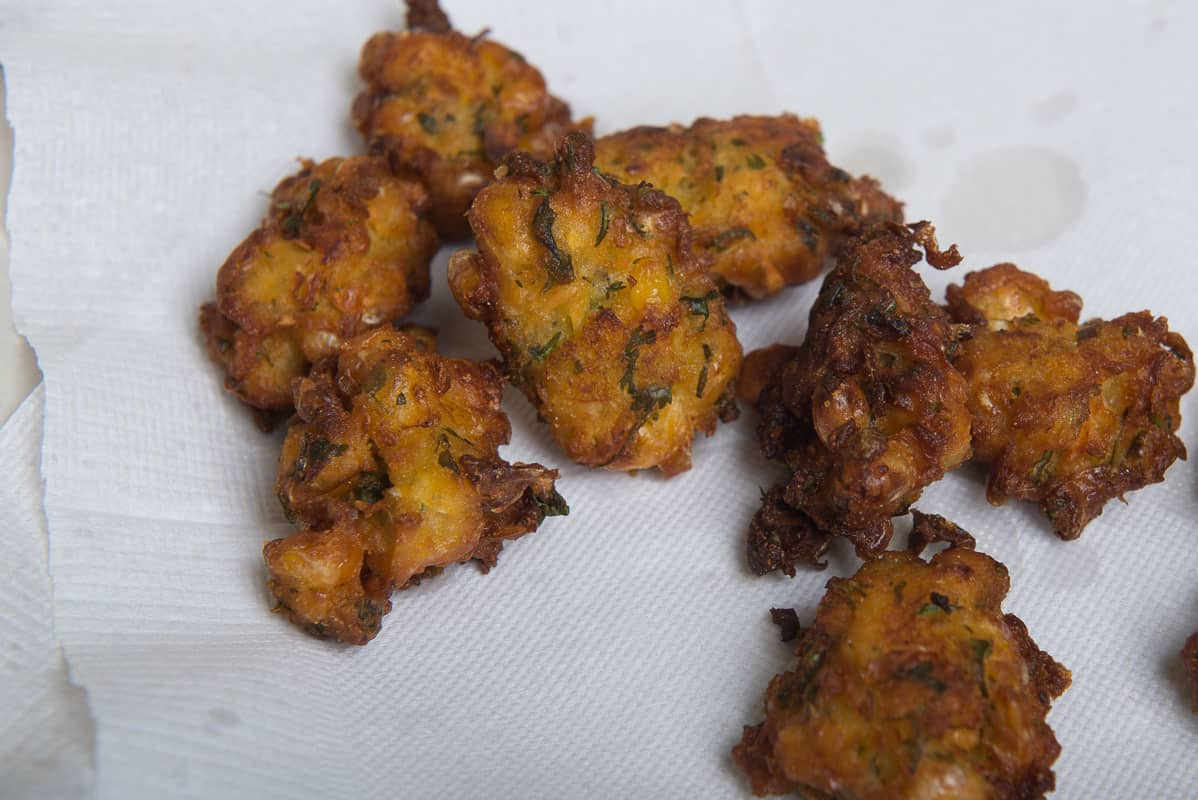 Corn Pakoda Drained on a plate