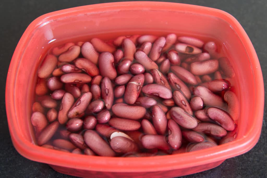 Kidney beans soaked in water