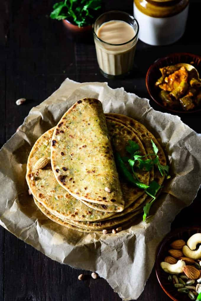 Slight close up of Dry Fruits Paratha