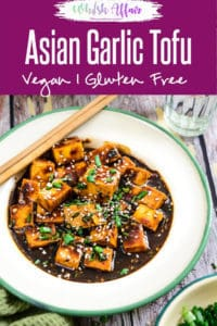 Asian Style Garlic Tofu is a simple healthy dish where tofu coated with Oriental sauces and spices is pan fried & cooked. Pair it with rice for a full meal. #Asian #Tofu #Vegan