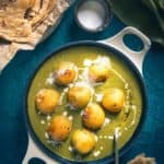 Hariyali Malai Kofta is a North Indian dish, of deep fried paneer and vegetable dumplings cooked in a rich, creamy tomato sauce.