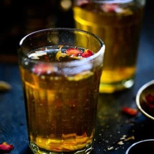 Step By step Authentic Kashmiri Tea Kahwa Recipe or Kashmiri Tea recipe which is a traditional Kashmiri tea flavored with various spices.