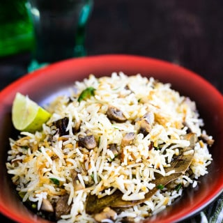 Mushroom and Spring Onion Pulao