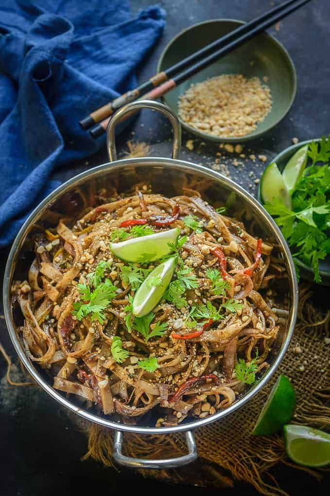 veg Pad Thai Noodles served in a bowl.