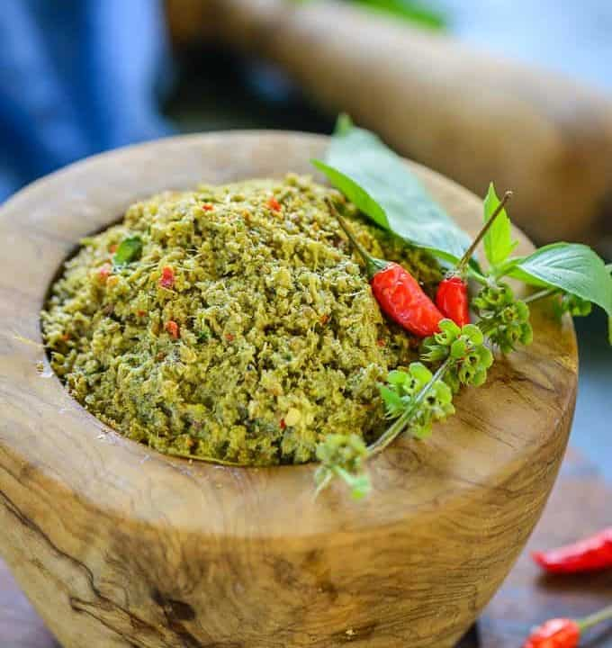 Thai Green Curry Paste in a mortar Pestle.