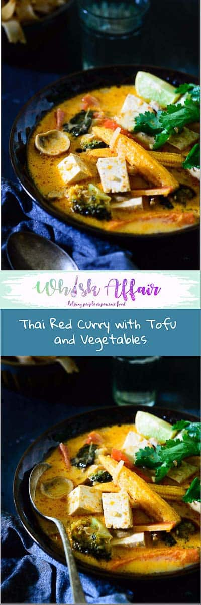 Thai Red Curry with Tofu and Vegetables is a simple red curry, with goodness of tofu, mushrooms, broccoli and other vegetables. #Thai #Curry #Vegetarian