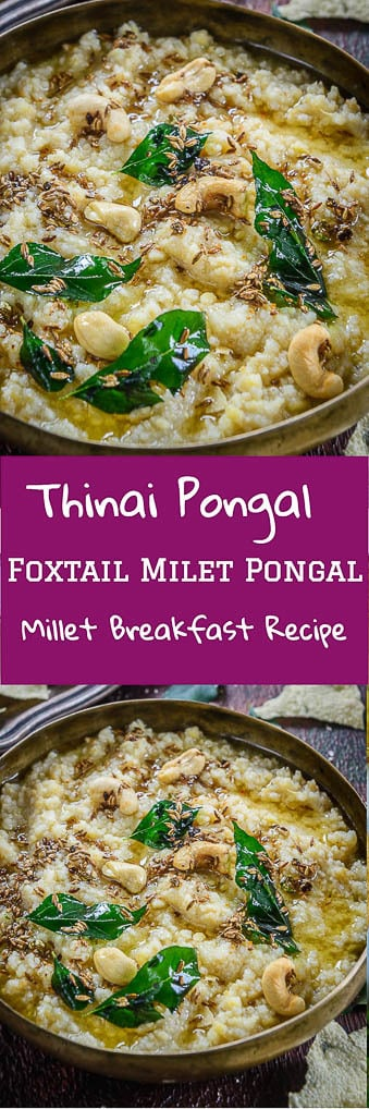 Thinai Pongal is a foxtail millet pongal which is healthy, delicious and savory. It is specially prepared during the harvest festival of Sankranti. #Millet #GlutenFree #Indian
