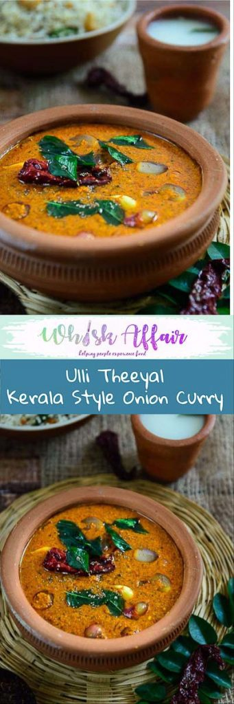 Ulli Theeyal Recipe is a quintessential Kerala gravy that is dark brown, loaded with flavor and best goes with white rice and ginger pickle. #Kerala #Onion #Curry