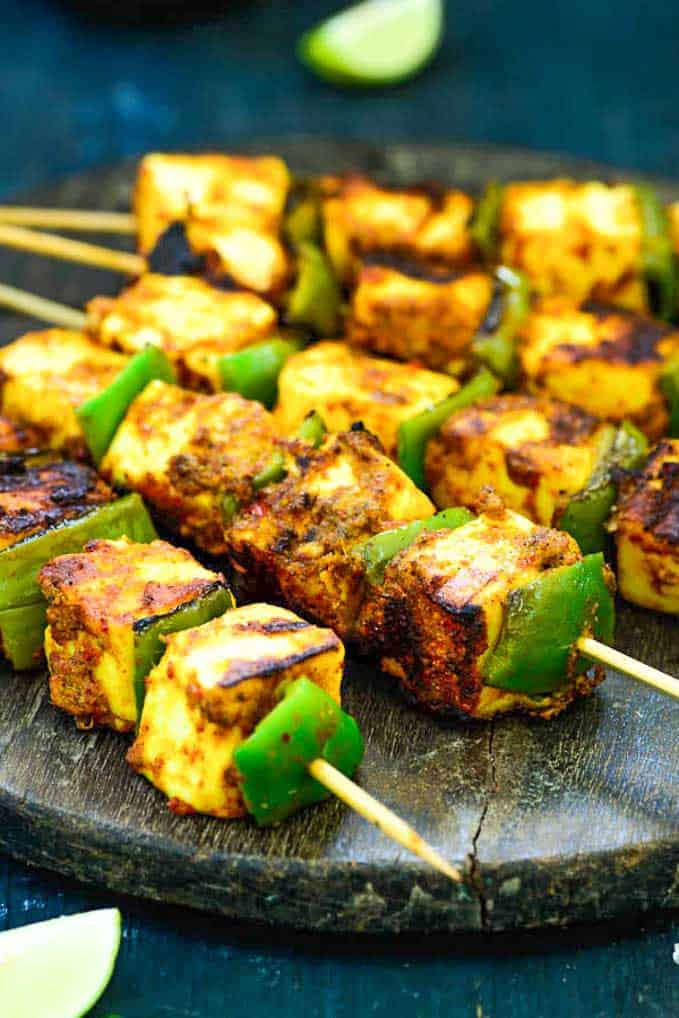 Close up shot of paneer tikka recipe