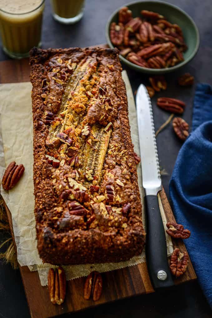 Loaf of banana pecan bread.