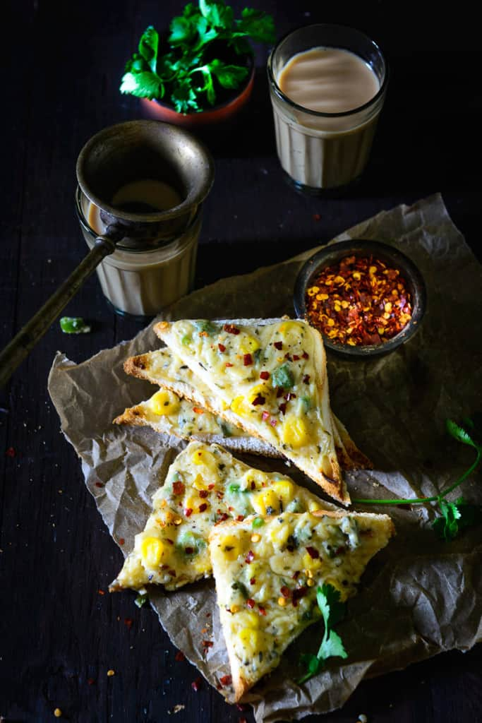 Corn Cheese Toast makes the perfect food for a healthy start to the day. Crispy bread slice topped with a creamy cheesy corn topping is a fantastic combination.