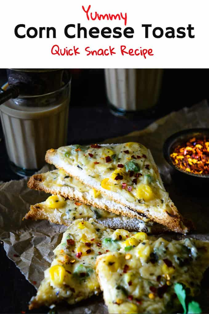 Corn Cheese Toast makes the perfect food for a healthy start to the day. When accompanied with smoothies and juices, it makes for a balanced meal. #Snack #Appetizer #Corn
