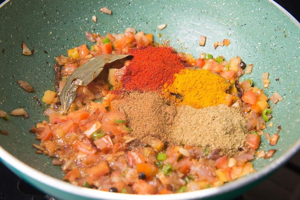 dry masala added in the pan
