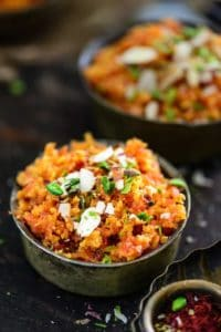 Gajar Ka Halwa is one dish where the sweetness of the carrots are allowed to shine. This sweet pudding mainly associated with North India is a rich, creamy dessert made using sugar and full cream milk or condensed milk and khoya. Garnished with slivers of dry fruits, it goes well with a dollop on ice cream on the side.