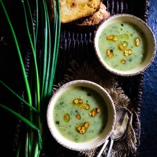 Garlicky Potato and Spring Onion Soup is a beautifully flavored, thick, creamy soup, a nice warming treat during cold mornings.
