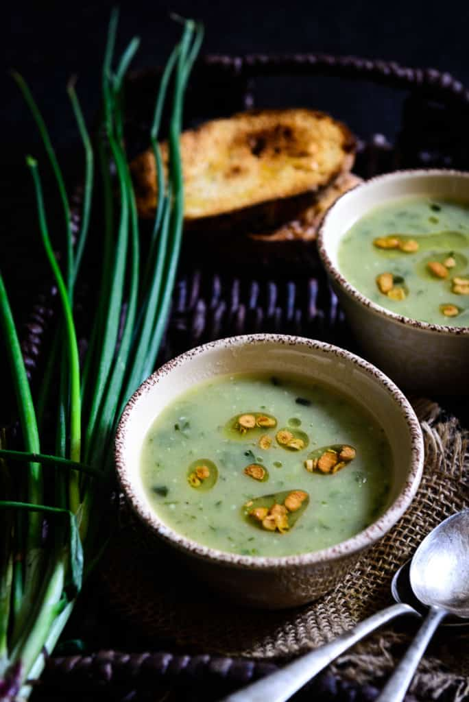 Garlicky Potato and Spring Onion Soup - Whisk Affair