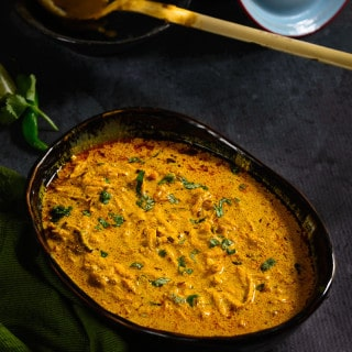 A specialty winter dish from Rajasthan, Kacchi Haldi Ki Sabzi is fresh turmeric and yoghurt curry mildly flavored with spices.