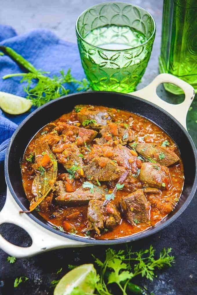 Kaleji Masala served in a serving bowl