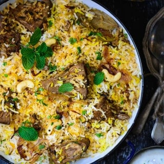 Kathal Ki Biryani is made using raw jackfruit pieces cooked slowly with a variety of spices and mixed with basmati rice