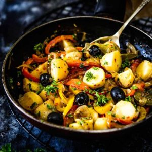 Mediterranean Warm Potato Salad is a delicious, filling and healthy salad begins with potatoes as the star, lightly tossed in flavorful white wine dressing.