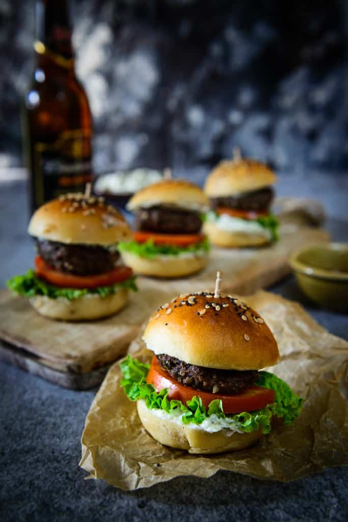 Middle Eastern Spiced Lamb Sliders have lamb mince as the base of the patty to which is added an interesting mix of spice powders, including Za'atar spice mix.
