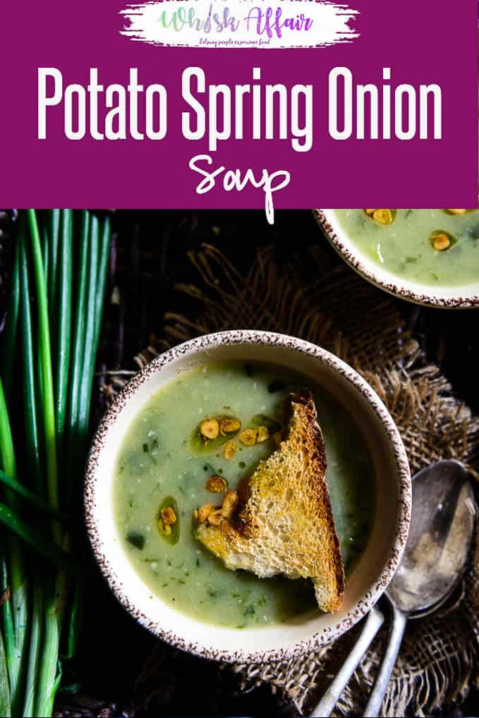 Garlicky Potato Spring Onion Soup is a beautifully flavored, thick, creamy soup, a nice warming treat during cold mornings.#Healthy #Soup #WinterRecipes