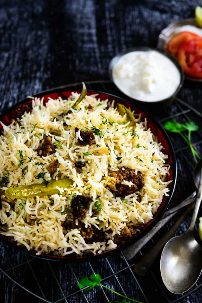 This Punjabi Wadi Chawal rice dish is well flavored and prepared just like any pulao or biryani, with wadis added for that extra texture. The wadies are slightly fried before adding to the rice giving them a very earthy flavour.