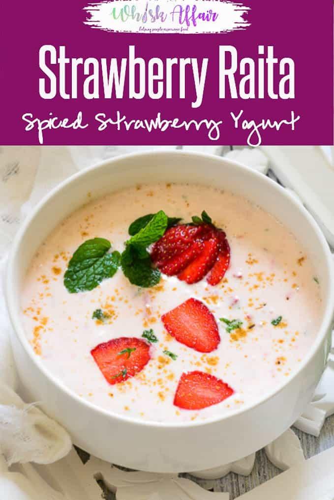 Strawberry Raita is one delicious raita with a sweet and tangy taste, combines the freshness and sweetness of strawberries with sourness of yoghurt. #Strawberry #Yogurt #Raita