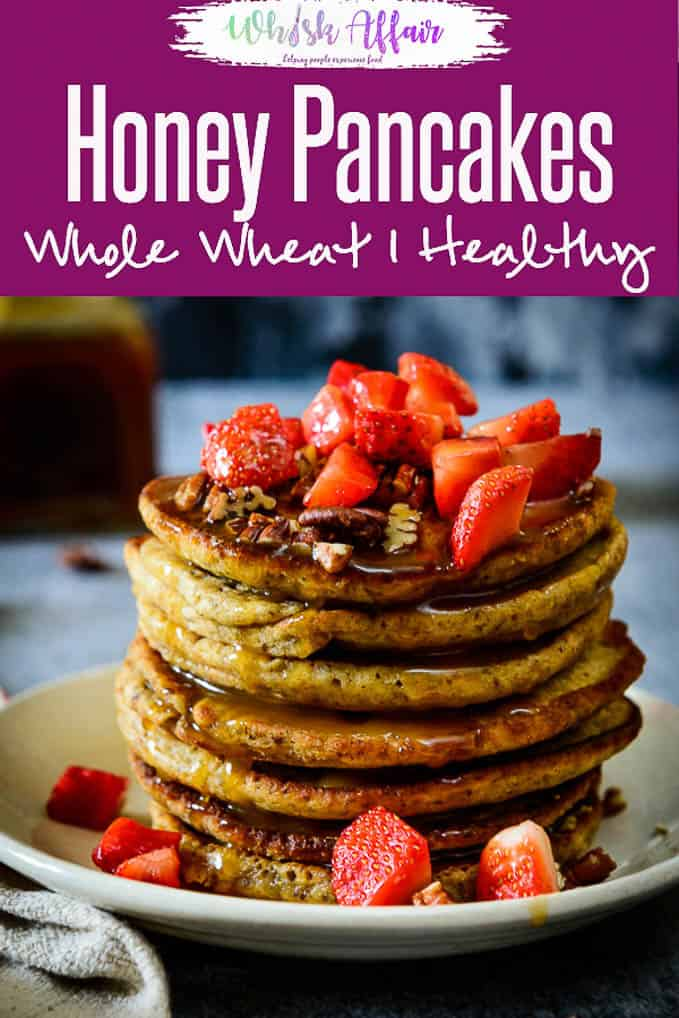 Whole Wheat Honey Pancakes with Flax Seeds are a great breakfast option, healthy and filling. Flax seeds makes them even healthier. #Healthy #Breakfast #Pancakes
