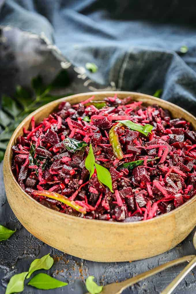 Beetroot Poriyal served in a bowl
