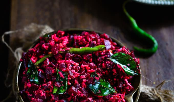 Beetroot Poriyal, Beetroot stir fry with fresh coconut