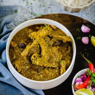 Hara Masala Mutton (Lamb cooked with Greens)