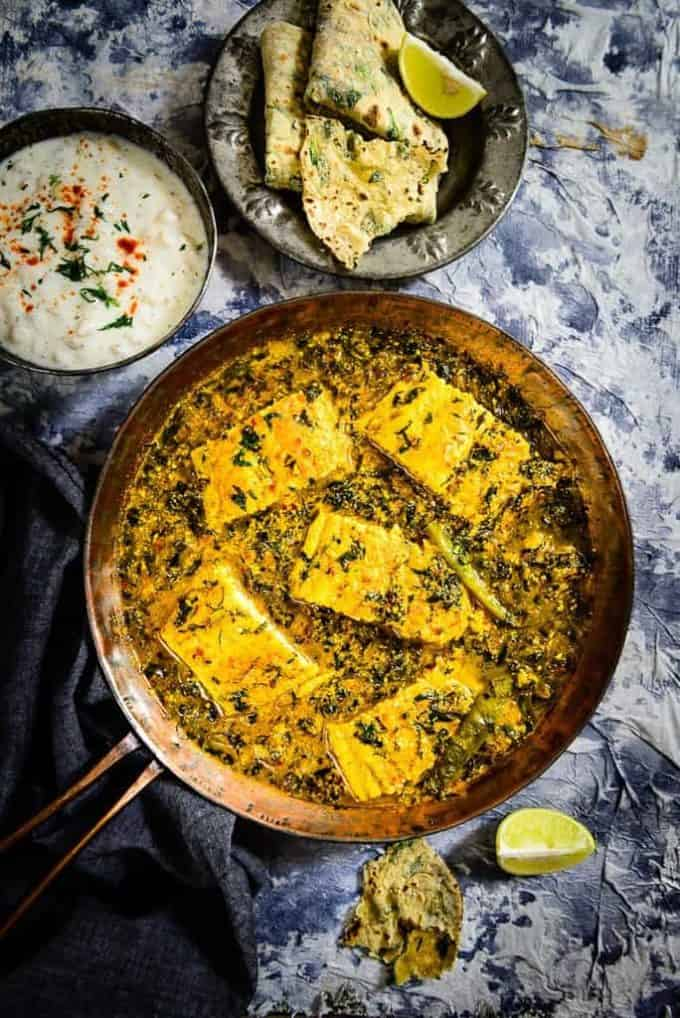 Methi Machli is fish marinated with spices and deep fried and simmered in a spicy gravy along with fresh fenugreek leaves made for a lovely combo and some crispy Laccha Paratha on the side was much loved by everyone.